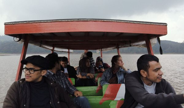 Hubton team on a fishing boat cruising the Patengan Lake