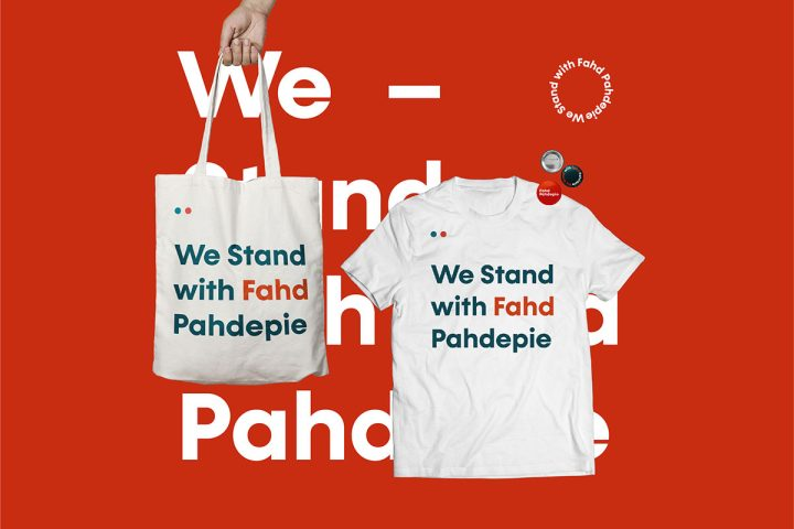 Application of Fahd Pahdepie campaign design on a T-shirt, tote bag, and pins