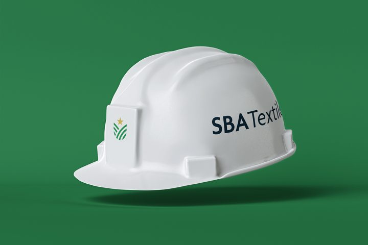 White safety helmet with 'SBA Textile' written on the side and SBA logo on the front