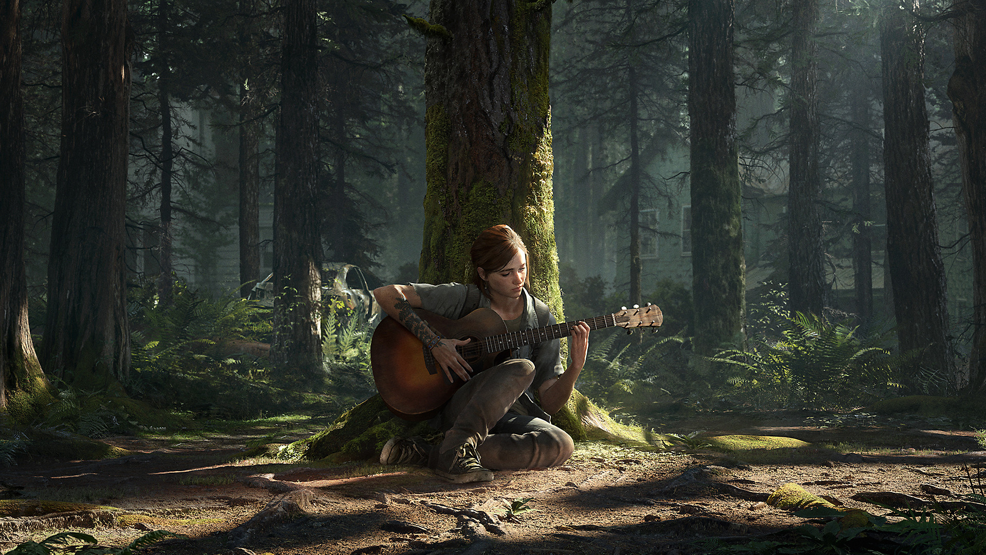 3D animated woman playing guitar on the ground in the wood amid apocalyptic setting